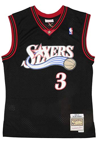 Mitchell & Ness Herren Shirt Philadelphia 76ERS | Allen Iverson 2000-01#3 - NBA Swingman Jersey weiß XL