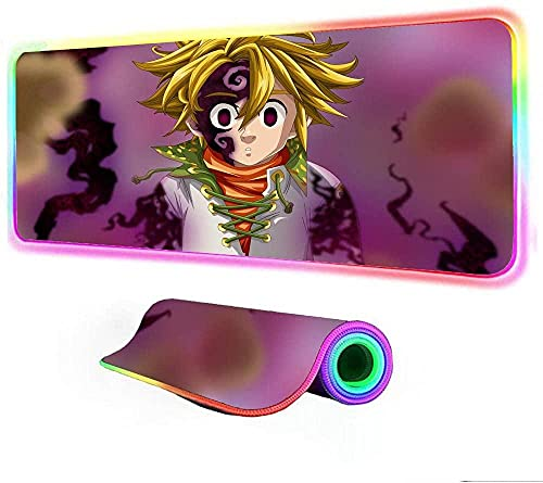 YYTTLL Alfombrillas De Ratón, Alfombrilla De Ratón De Anime, Accesorios LED para Juegos RGB, Alfombrilla Grande para Ordenador con Alfombrilla De Escritorio para Juegos Retroiluminada800x300x4mm