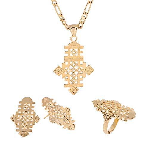 CLEARNICE Collar De Pendientes De Cruces Coptas Religiosas Etíopes, Conjuntos De Joyas De Boda De Cruz Africana, Collar, Longitud De Cadena 60 Cm