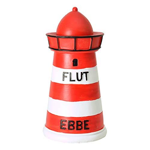 Dio Spardose Leuchtturm, mit Ebbe & Flut Aufdruck, rot/weiß Geringelt, ca 15x8 cm