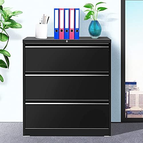 Lateral File Cabinet with Lock, 3 Drawer Black Metal Lateral Filing Cabinet for Legal/Letter A4 Size, Locking Wide File Cabinet with Drawers for Office Home INTERGREAT