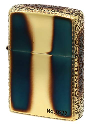 ZIPPO ジッポーライター オイル ライター 3面深彫エッチング&リューター アラベスク (A) ゴールドいぶし