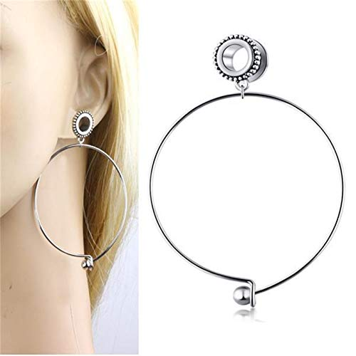 KGDUYH Fine Ear Tunnels and Plugs 10mm Plugs Stainless Steel Dangle Gauges Earring Expander Set Eyelet Body Jewelry Piercings Flesh For decoration (Main Stone Color : 20mm, Metal color : N015)