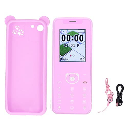 753 1.77in Screen Portable Students Mobile Phone,32MB+32MB Dual Card Dual Standby Smart Cell Phone,Cartoon Color Matching, Fashion Trend,Easy to Operate(Pink)