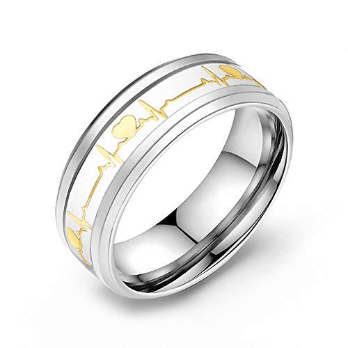 Luminous Heart Electrocardiogram Rings Stainless Steel Glow in the Dark Wave Love Ring Female Male Wedding Jewelry Jr8002Glbl 11
