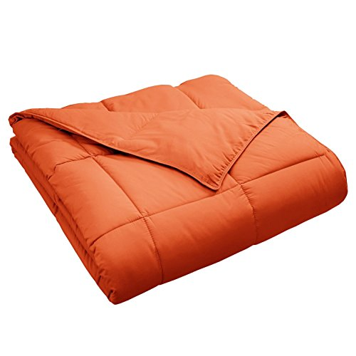 Superior Classic All-Season Down Alternative Comforter with Baffle Box Construction, Warm Hypoallergenic Filling - Twin Comforter, Dusty Orange