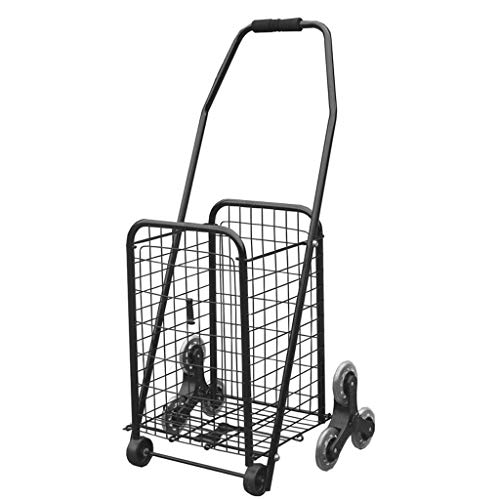 YCZM Large Capacity Durable 8 Wheel Shopping Trolley with Steel Alloy Frame Folding Shopping Cart