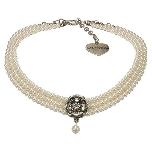 Alpenflüstern Trachten-Perlen-Kropfkette Frederike - nostalgische Trachtenkette, eleganter Damen-Trachtenschmuck, Dirndlkette Creme-weiß DHK213