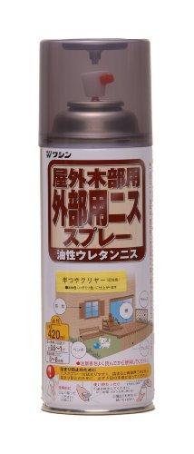 和信ペイント 外部用ウレタンニススプレー 高耐久・日焼け防止剤使用 半つやクリヤー 420ml