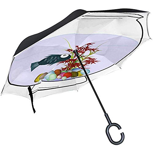 Alice Eva Inverted Umbrella Aquarium Fishbowl Water Sad Regenschirme Reverse Taschenschirm Big Straight Umbrella