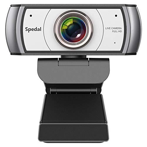 Spedal Full HD Webcam 1080p, Live Streaming PC Camera con Microfono, 120 Gradi Ultra Wide Angle, Webcam USB per Xbox OBS XSplit Facebook Skype, Compatibile per Mac OS Windows 10/8/7