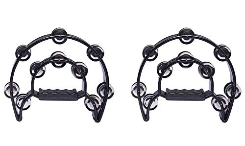 Foraineam 2 Pieces 9 Inch Half Moon Handheld Tambourine - Double Row 20 Pairs Jingles Musical Percussion - Black