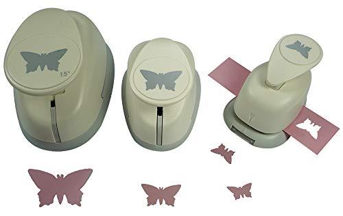 Motivstanzer Set A68053 Schmetterling, 3 STK, Kunststoff, weiß, 1,6cm, 2,54cm, 1x 3,81cm