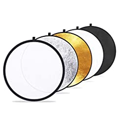 5-In-1 lightweight reflector: Gold, silver, white, black and translucent Gold: warm up the picture; Silver: brighten the picture; white: bounce light into shadows; black: block out unwanted light Collapse multi-disc light reflector into a portable si...