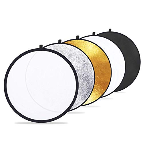 Etekcity 24' (60cm) 5-in-1 Photography Reflector Light Reflectors for Photography Multi-Disc Photo Reflector Collapsible with Bag - Translucent, Silver, Gold, White and Black