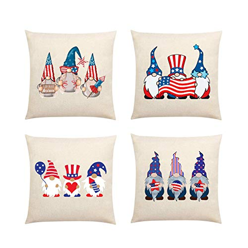 4Pcs 4th of July Pillow Cover, Patriotic Throw Cushion Cover Pillowslip, American Pillow Shams,Independence Day Cushion Case for Sofa, Couch, Bedroom Home Decoration, Star Gnome Design 18' x 18' (E)