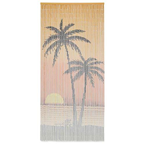 UnfadeMemory Insektenschutz Türvorhang Bambus Fadenvorhang Dekovorhang 90 x 200 cm Bambusvorhang mit 90 feinen Bambussträngen (Palme-Aufdruck)
