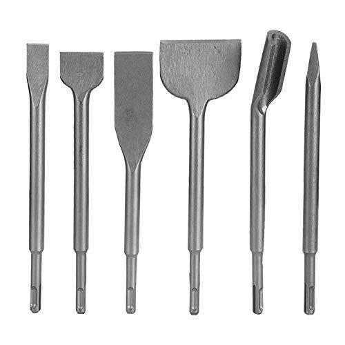 SDS-Plus - Juego de 6 brocas y cinceles, juego de brocas para hormigón con tijeras de punta de ranura y tijeras planas para ladrillo, cemento y piedra