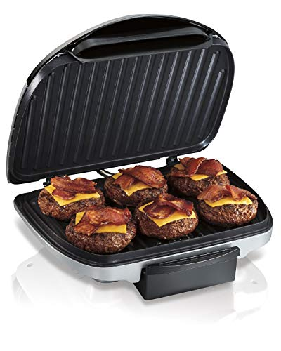 Hamilton Beach Electric Indoor Grill, 6-Serving, Nonstick Easy Clean Plates, Silver (25371) (Renewed)