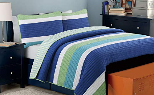 Cozy Line Home Fashions Waylon Bedding Quilt Set, Navy Blue Green White Striped Print 100% Cotton Reversible Coverlet Bedspread (Blue/Green, Twin - 2 Piece)