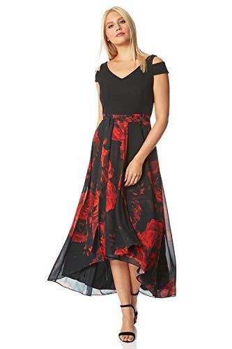 Roman Originals maxi vestido con hombros descubiertos y estampado floral para mujer