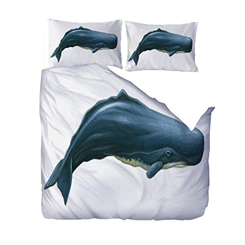 PANDAWDD Duvet Quilt Cover Set - Poly Cotton 220x260cm Blue ocean whale Bedding Set With Matching Pillowcases- Easy Care Machine Washable - Durable | Single Double King Super King Bed Size