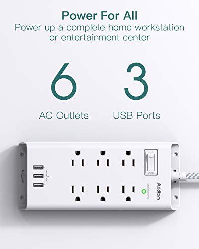 Power Strip Surge Protector, Addtam 6 Outlets and 3 USB Ports 5Ft Long Extension Cord, Flat Plug Overload Surge Protection Outlet Strip, Wall Mount for Home, Office and More, ETL Listed 6