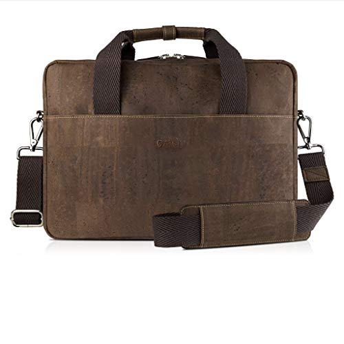 Corkor Cork Briefcase for Men | Vegan Messenger Bag 15 Non-Leather | Shoulder Strap Brown Color