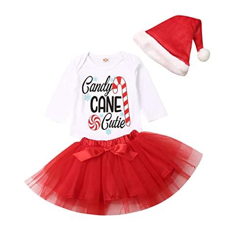 3 Juegos de Mameluco para bebés recién Nacidos, Mameluco de Navidad para niños Candy Cane Tutu Dress Hat Party Outfit Disfraces