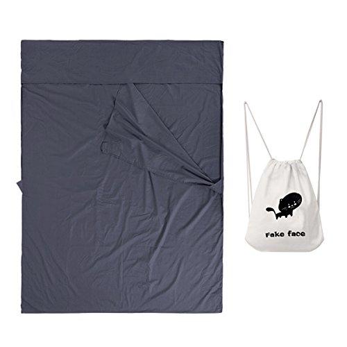 BXT Ultraleichte Schlafsack für 2 Personen, Hüttenschlafsack, Doppelte Schlafsack aus Baumwolle, Deckenschlafsack Schlafsack mit Tragetasche für Reise, Hotel, Geschäftsreise, Camping, Trekkingtouren