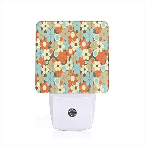 Xuforget Floral Retro Flower Pattern with Simplistic Designed Ultra Slim LED Night Light with Auto Dusk to Dawn Sensor for Stairways