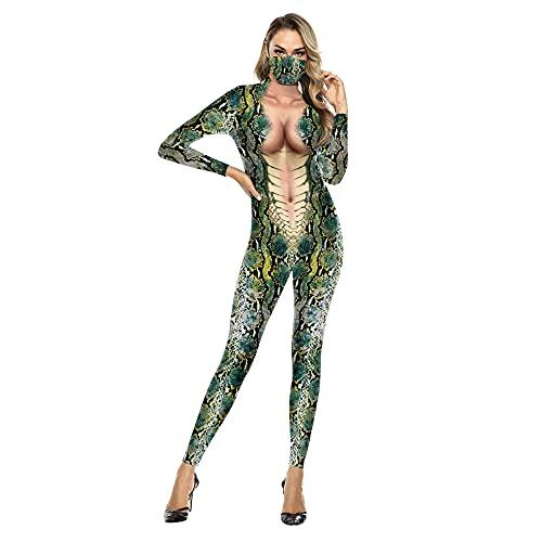 Disfraces de Halloween con Estampado 3D-Adultos Sexy Hombres Serpiente Animal Fiesta Zentai Catsuit Muscle Cosplay Body Mono (Color : B142-173, Size : S)