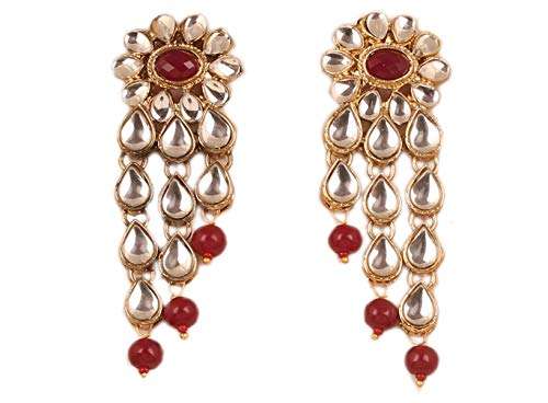 NEW! Touchstone'Contemporary Kundan Collection' Exotic Indian Bollywood Desire Royal Mughal Kundan Polki Look Floral Faux Ruby Jewelry Chandelier Earrings In Gold Tone For Women