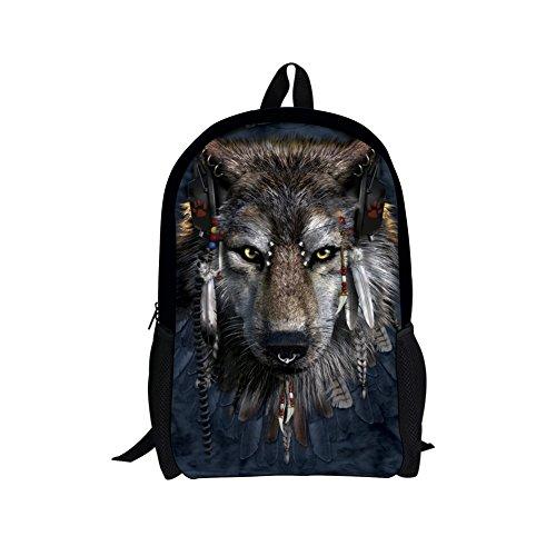 CHAQLIN - Bolsas escolares para adolescentes y niñas lobo medium