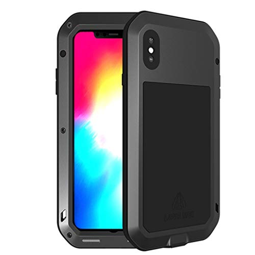 KIOKIOIPO-N Mode lieben MEI Leistungsstarke staubdichte Shockproof Anti-Rutsch-Metall + Silikon-Kombinations-Fall for iPhone XS Max (Color : Schwarz)