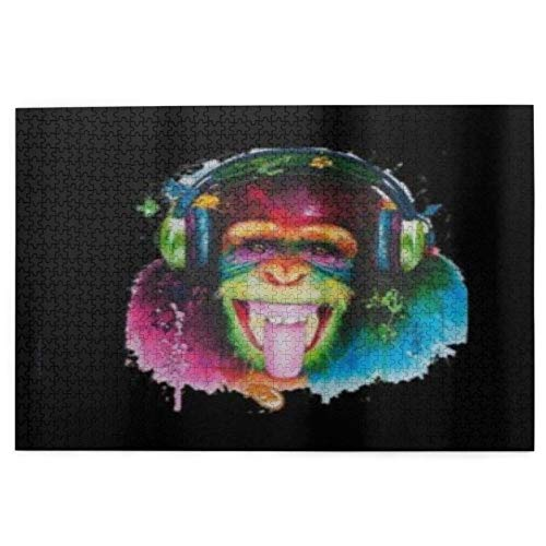 SDBUYW-ZQ Puzzles 1000 Stück,DJ Monkey Printed Frauen & Männer Lustig, Große Familie Puzzle-Spiel Artwork für Erwachsene Jugendliche