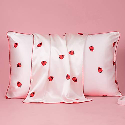 WERTDERTO beddengoed huishoudtextiel aardbeien schat silk kussensloop van 100% zijde zijde eenzijdig kussensloop Single Pack Frosted White 48 * 74cm (kleur: White)