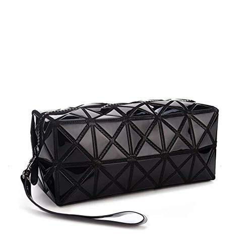 1 x faltbare Make-up-Tasche für Mädchen/Frauen, modische Kunstledertasche mit Rautengitter, für Kosmetikartikel Schwarz
