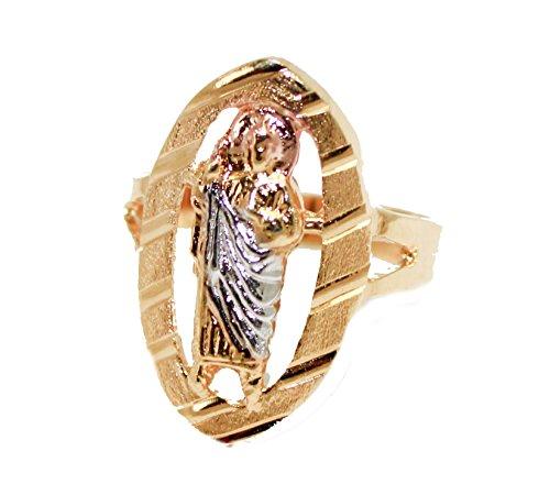 Diamantados of Fla San Judas Tadeo Tres Tono Dorado con circonitas 18K Chapado en Oro Anillo tamaño 8–ST. Jude Thaddeus Anillo