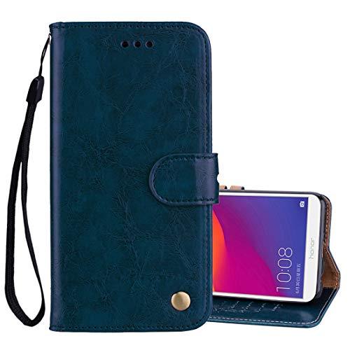 Huawei-Hüllen Business Style Oil Wax Texture Horizontal Flip Leder Tasche For Huawei Honor 7C / Enjoy 8 / Y7 (2018) / Y7 Prime (2018) / Nova 2 Lite, mit Halter und Kartensteckplätze und Geldbörse (Schwarz