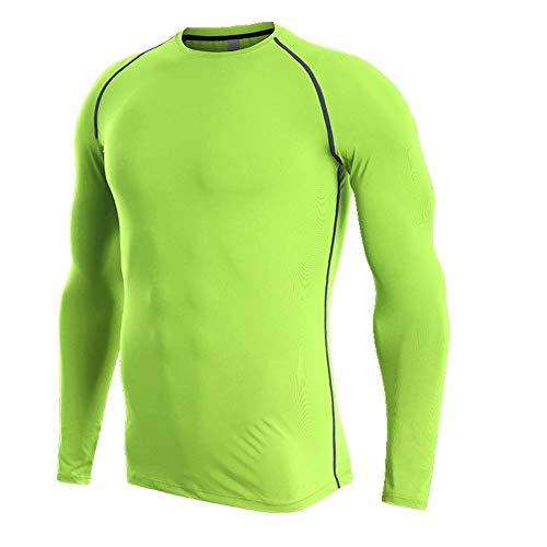 NOBRAND Fitness Suit Herren Trainingsanzug Schnelltrocknend T-Shirt Ärmel Sportswear Gr. XL, grün