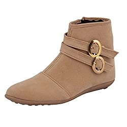 ABJ Fashion Womens Synthetic Suede Double Buckle Boots