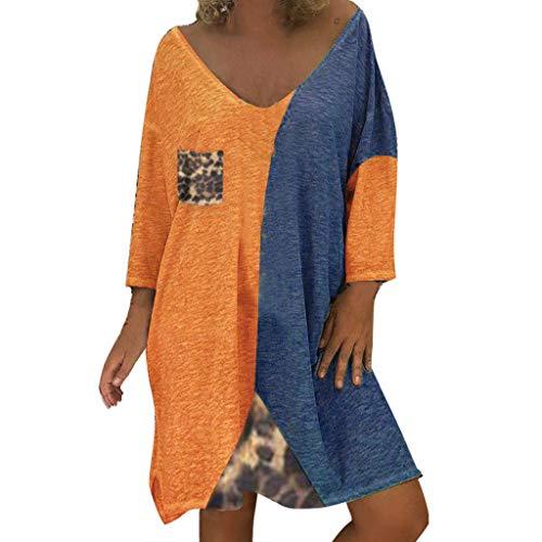 LOPILY Damen Kleid Leopard Muster Shirtkleid 54 52 Farbblock Tunika Kleid Locker Große Größen Blusenkleid Wild Sexy Hemdkleid Knielang Strandkleid Retro Abendkleid für Mollige (Orange, 50)