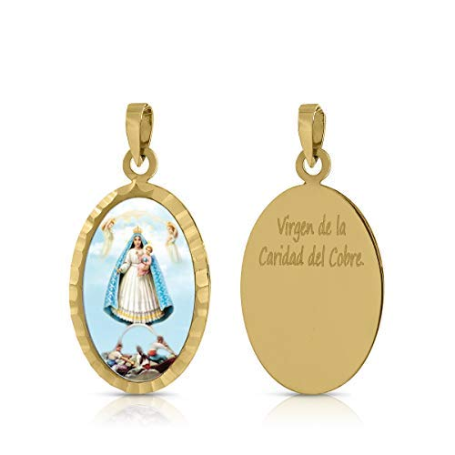 ROSA DI MANUEL Medalla Virgen comunión en Oro 18 k,para Mujer, niña Unisex. Medida 12 x 18 milímetros. Elija la suya.Pilar, Rocio, etc, (V. Sra.Caridad del Cobre)