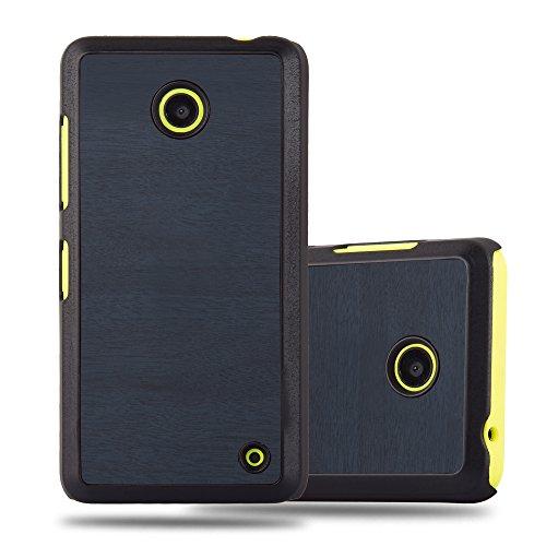 Cadorabo Custodia per Nokia Lumia 630 in Woody Azzurro - Rigida Cover Protettiva Sottile con Bordo Protezione - Back Hard Case Ultra Slim Bumper Antiurto Guscio Plastica