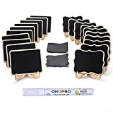 ONUPGO 20 Pack Mini Chalkboards Signs with 1 Liquid Chalk Marker, Small Wooden Chalkboard ...
