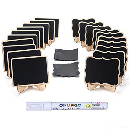 ONUPGO 20 mini pizarras de madera, pequeñas etiquetas de pizarra con caballetes de apoyo, tarjetas de lugar, carteles de...