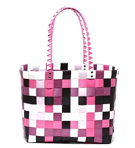 XXL Big Bag Shopper Tasche Korbtasche Flechtkorb Flechttasche Henkeltasche Strandtasche geflochten knautschfähig robust abwaschbar bunt BERRY & PINK