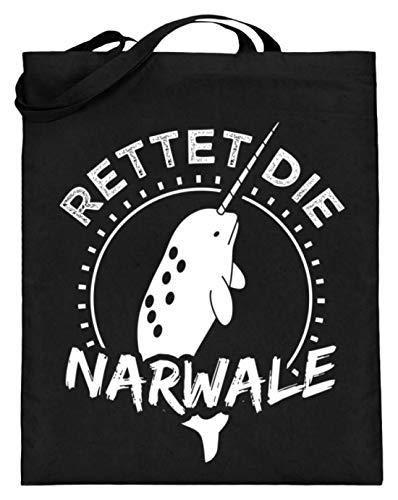 Chorchester Ideal für Narwal und Tierliebhaber - Jutebeutel (mit langen Henkeln) -38cm-42cm-Schwarz