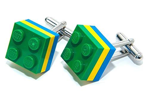 BRAZILLIAN Flagge echtem Lego Brick Manschettenknöpfe–Olympischen Fußball Sport Manschettenknöpfe hergestellt von Jeff Jeffers